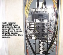 Home Inspection photo, Electric panel dryer and range circuits are undersized, Many, LA