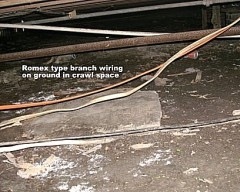 Home Inspection Wires on ground in crawl space Alexandria, LA