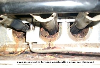 Home Inspection photo, excessive rust in furnace combustion chamber, Alexandria, LA