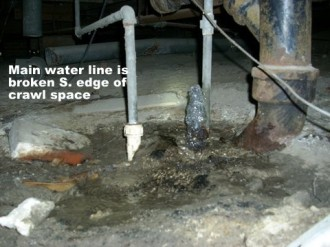 Mold inspection photo, water line broken at edge of crawl space, Leesville, LA