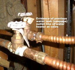 Home Inspection photo, leak in water heater outlet line, Natchitoches, LA