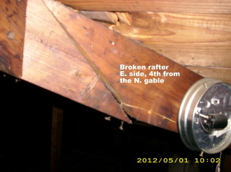 home inspection photo, broken rafter north side. Pineville, LA